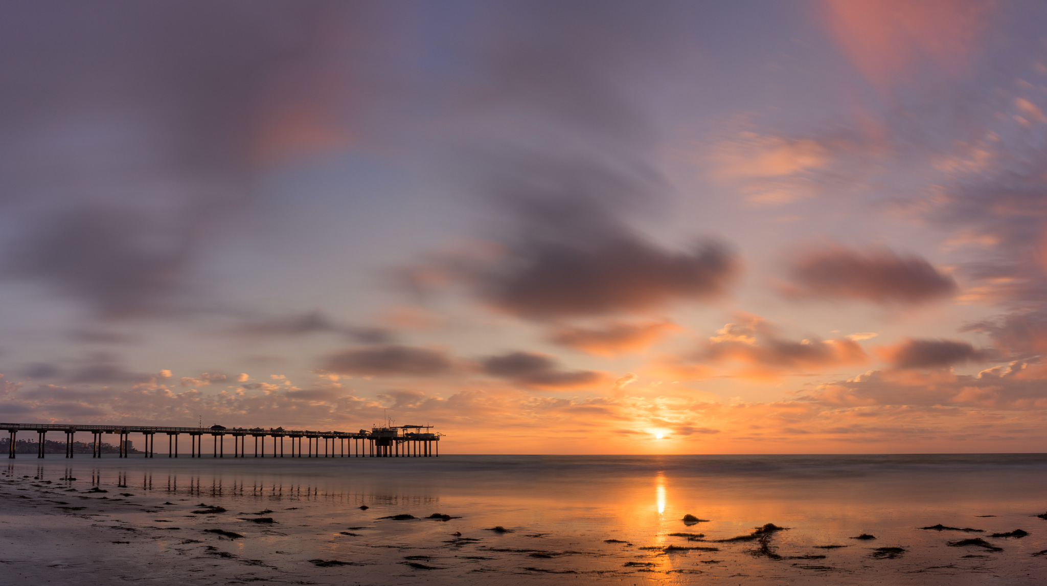 Scripps Pier Sunset Panorama
