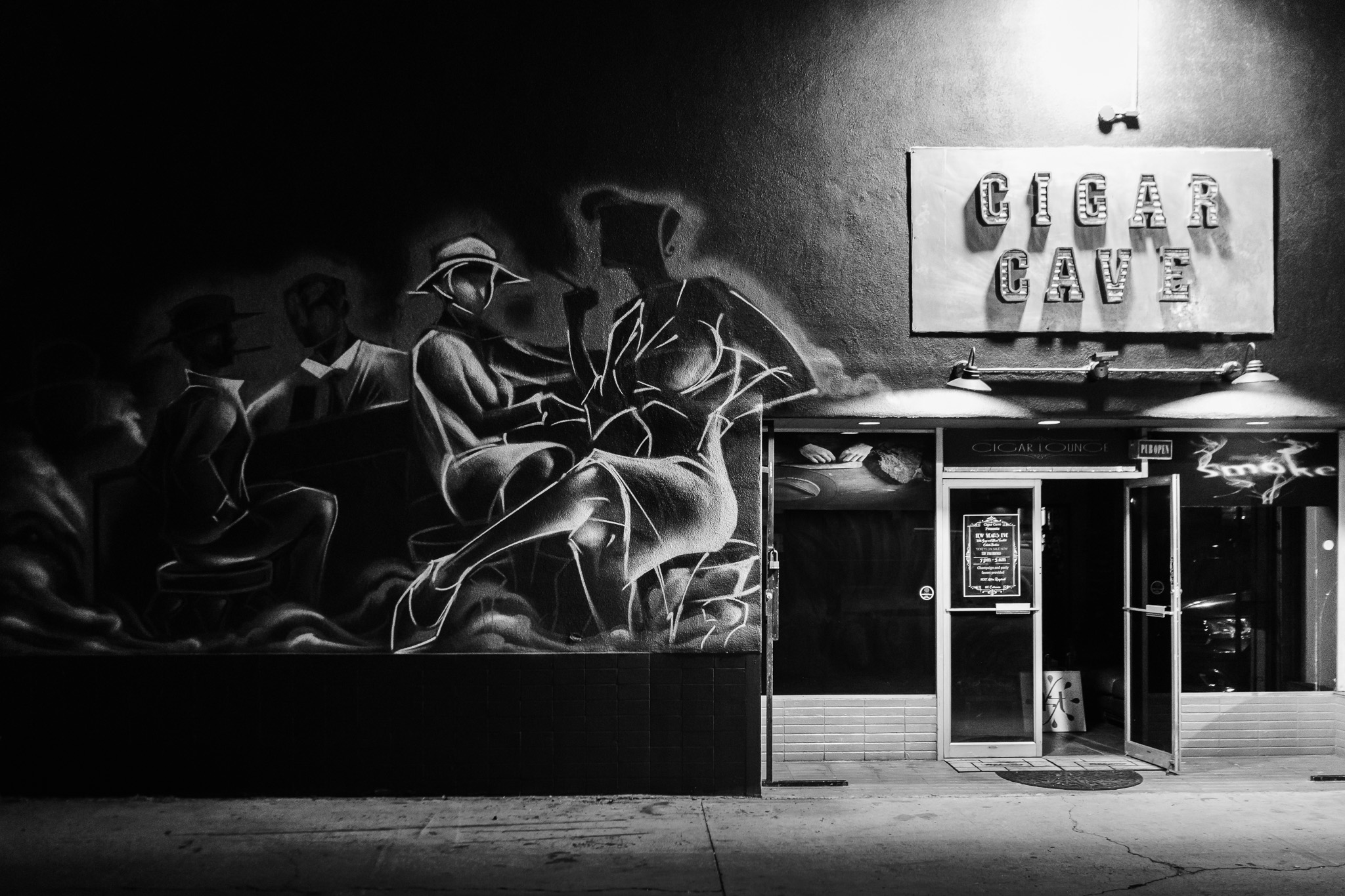 The unfinished mural outside The Cigar Cave