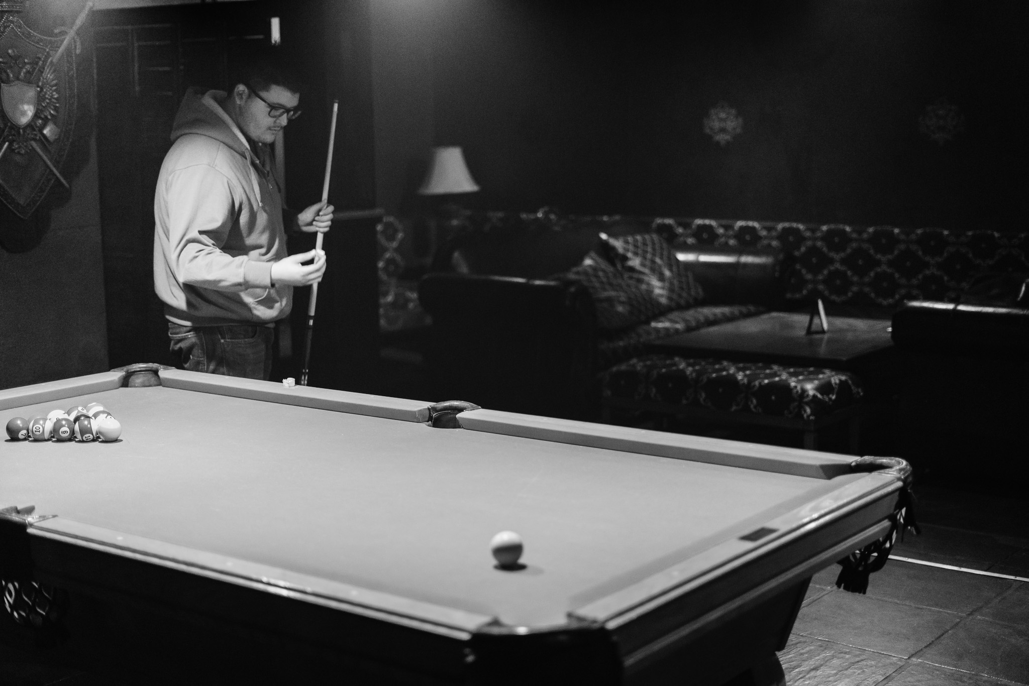 The next game of billiards is about to begin