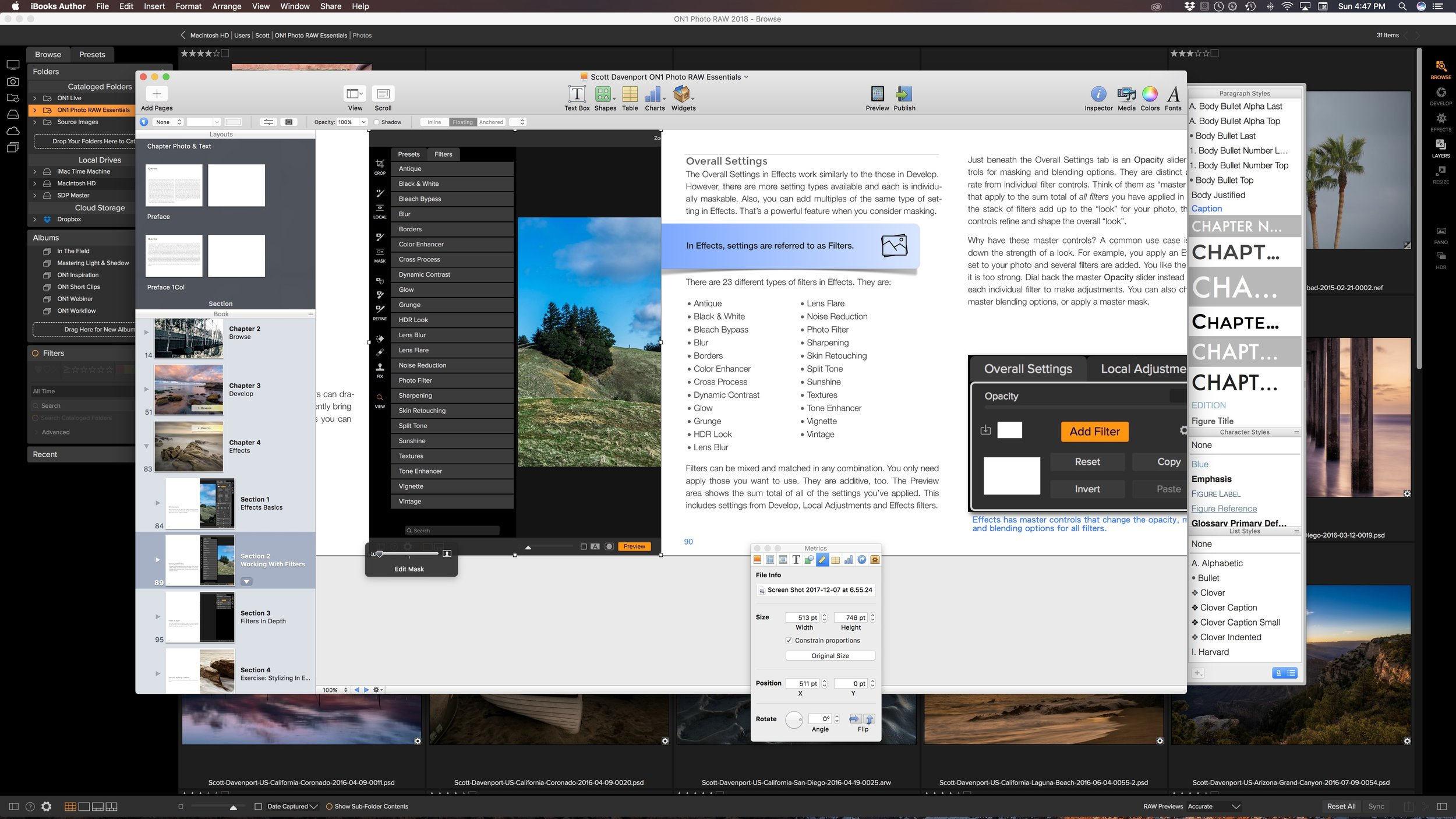 My desktop; doing the final proofreading for the 3rd Edition of ON1 Photo RAW Essentials.