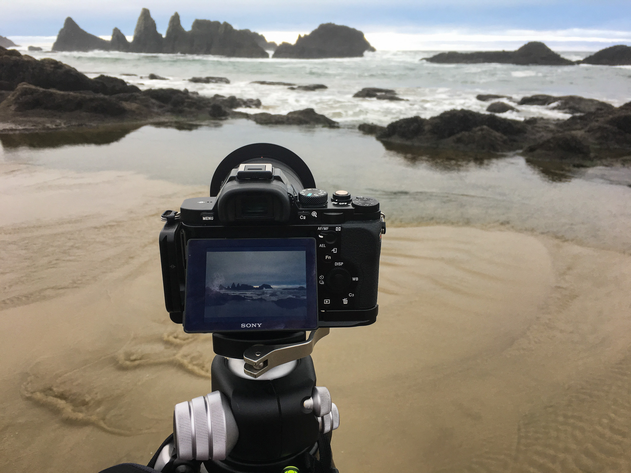 Sony A7R and Really Right Stuff Tripod capture Seal Rock Beach, Oregon