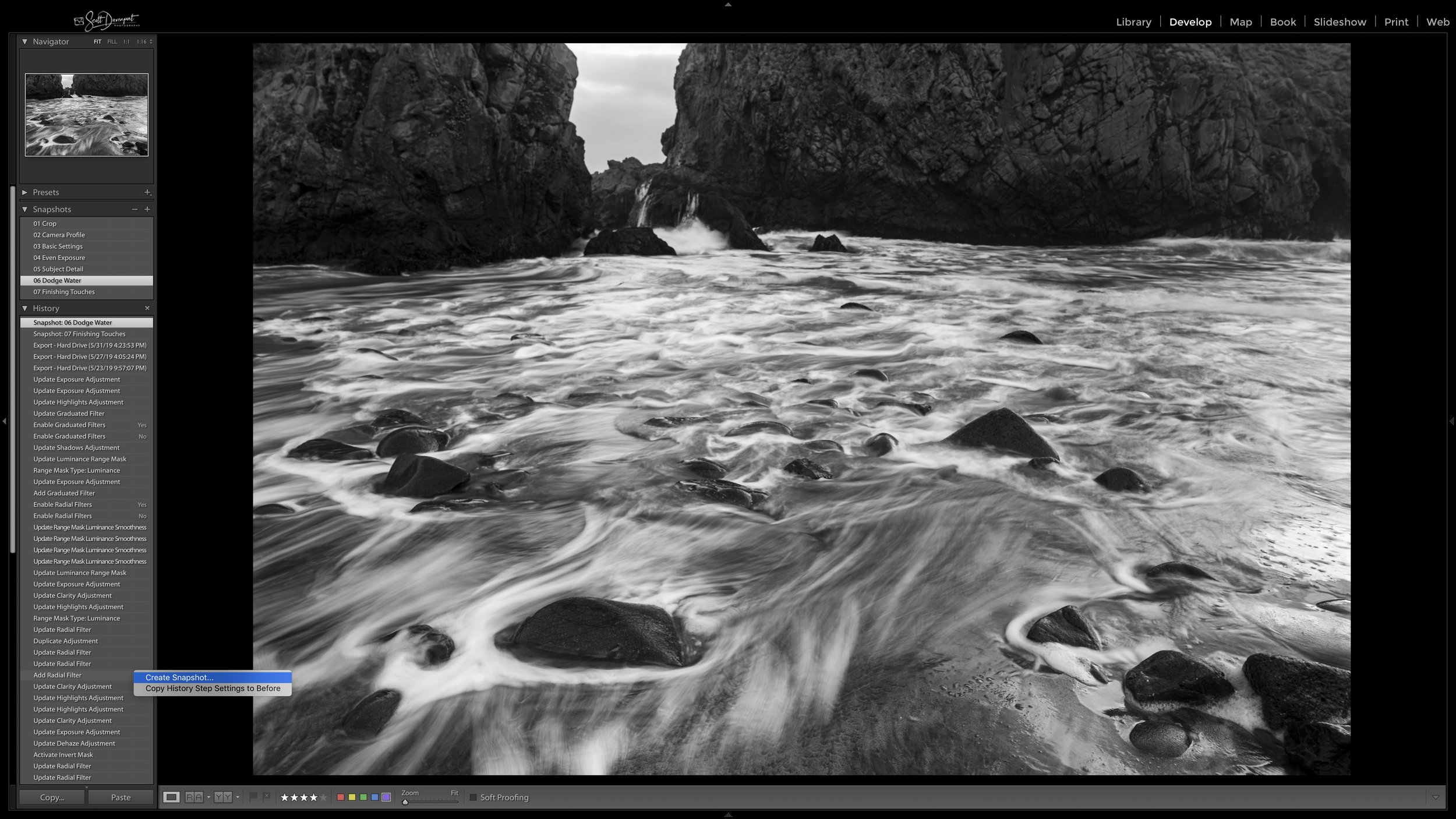 Creating a snapshot from the editing history in Lightroom