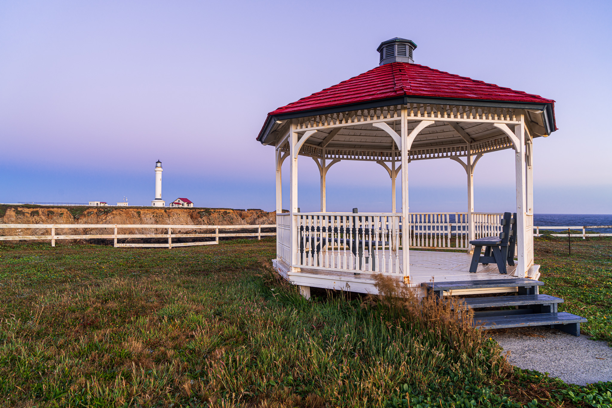 Gazebo And Point Arena Lighthouse
