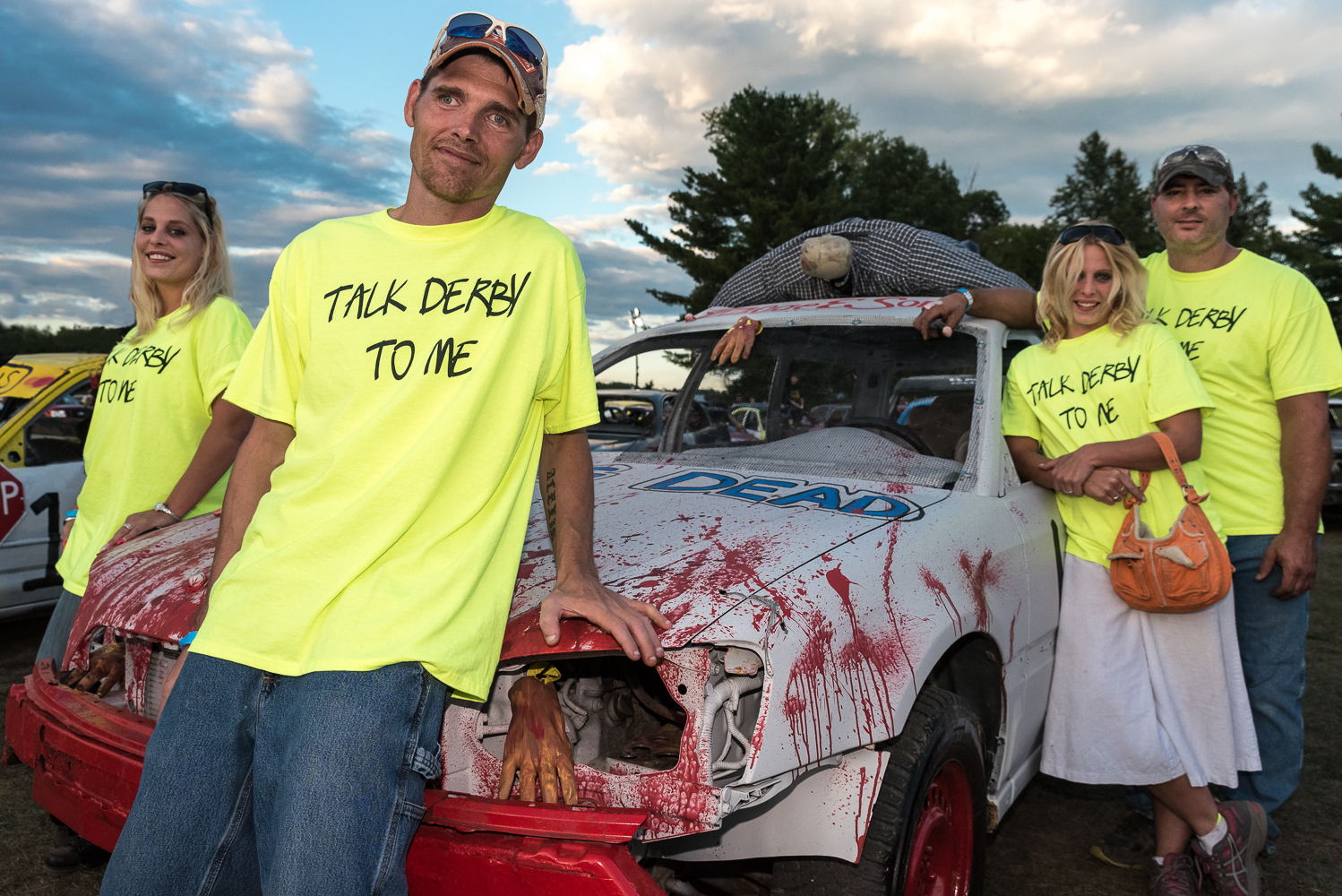 Drivers in the annual Champlain Valley Fair demolition derby. Photo by Bob LoCicero.