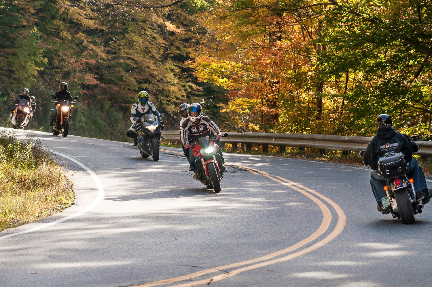 Motorcyclists ride through App Gap on a fall day VT 17 in Vermont. Photo by Bob LoCicero