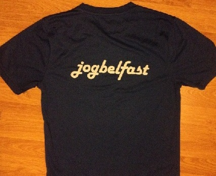 Sample JogBelfast sports t-shirt given to all participants with JogBelfast logo on the back
