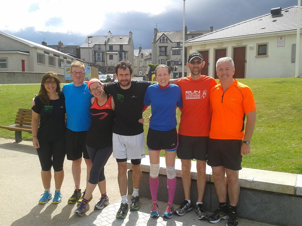 Picture courtesy of Colin McDowell (far right), who with Joanne and Galye joined us for a glorious Portrush run