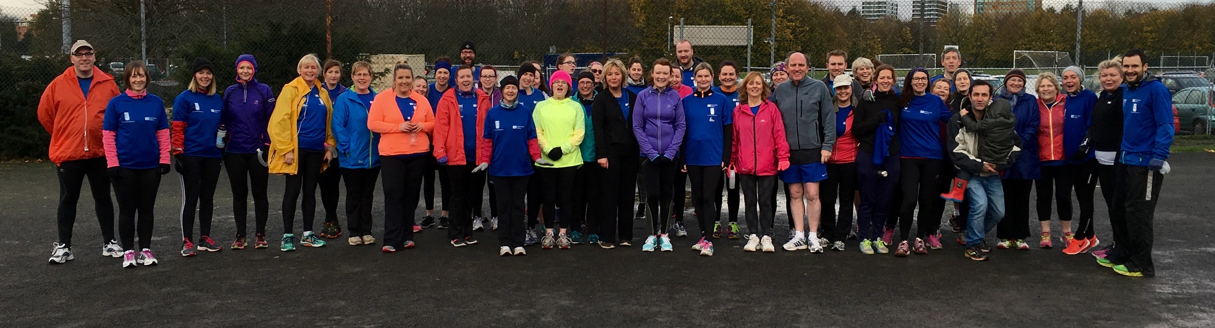 BelfastRunning's JogBelfast Ormeau Wed graduates just before completing Ormeau parkrun on Sat 21st November 2015. Fantastic Effort!!!