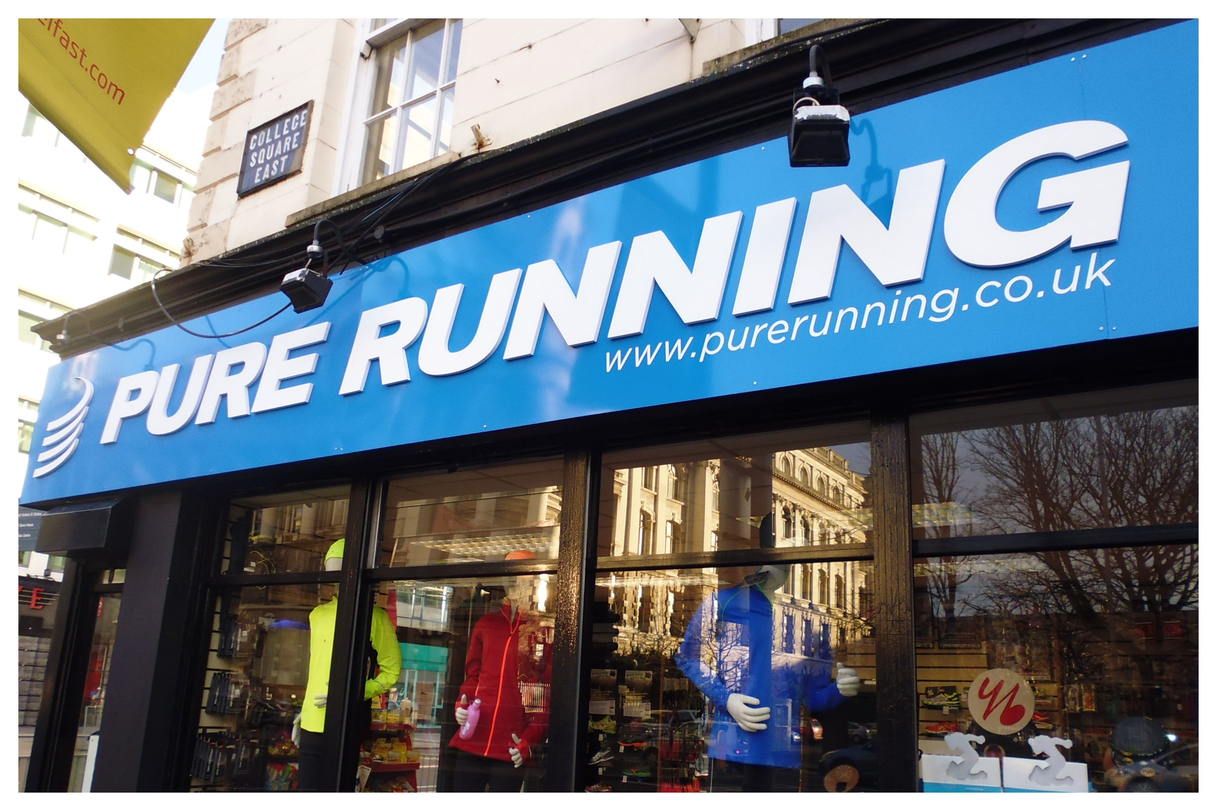 Pure Running   Pure Running, based in the City Centre, is one of NI's leading running specialist shops and staffed by runners.   A: 60 Wellington Place, Belfast BT1 6GF   E:  shop@purerunning.co.uk    T: 028 9032 5151   W:  www.purerunning.co.uk    Twitter: @purerunningshop   Additional Information: Wide range of trainers available along with digital-gait analysis in-store. Involved in many local running events (e.g.  runher ), and can offer discounts to club members. Open 7 days a week, late Thurs