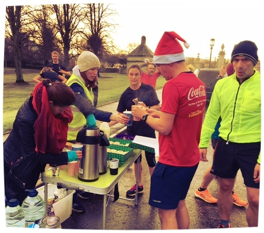 Belfast Running Club volunteers at Stormont out in the cold providing runners with tea/coffee, mince pies and sweets in December 2016