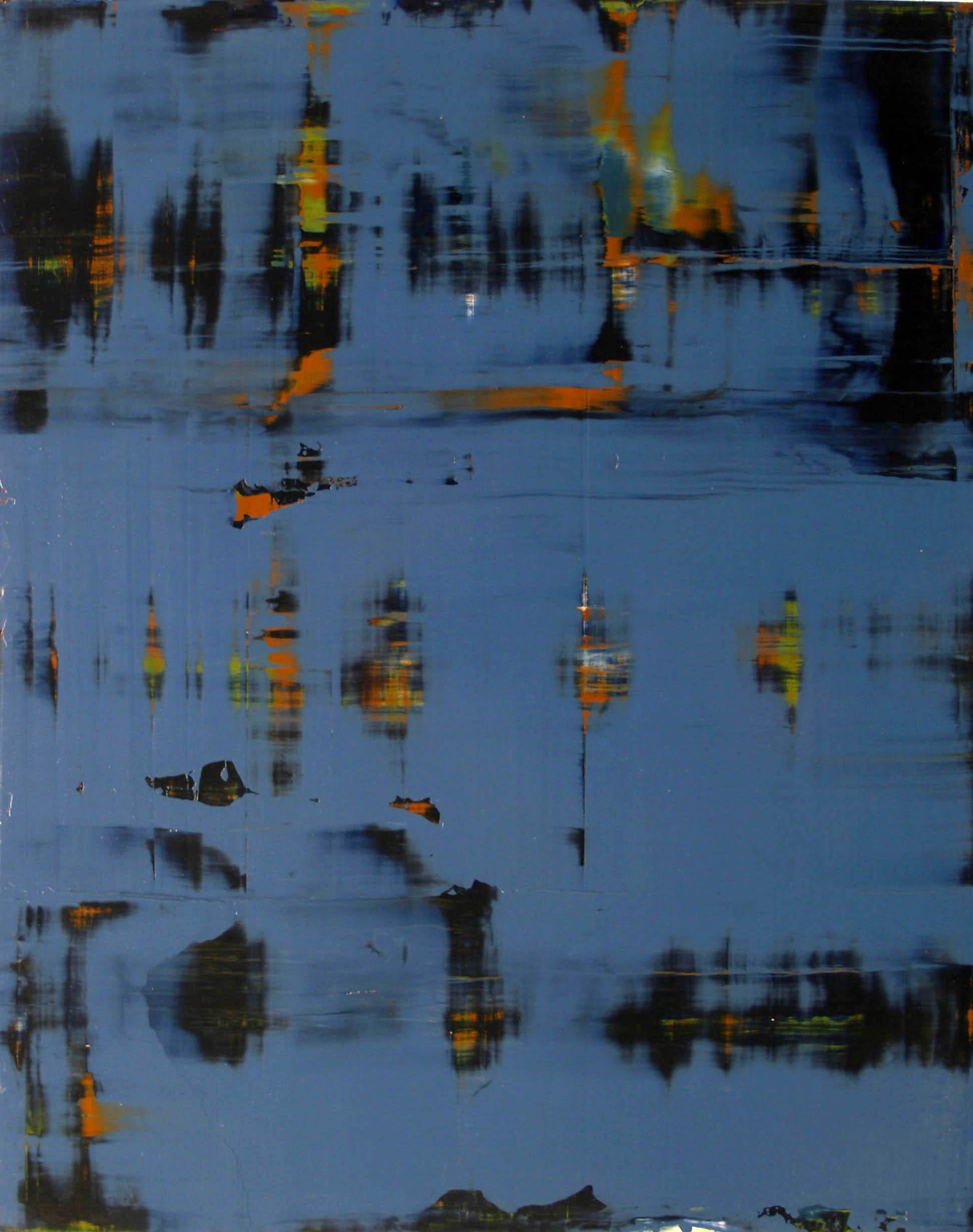 """February 27, 2009, (blue)"" oil on panel, 48""x 36."""