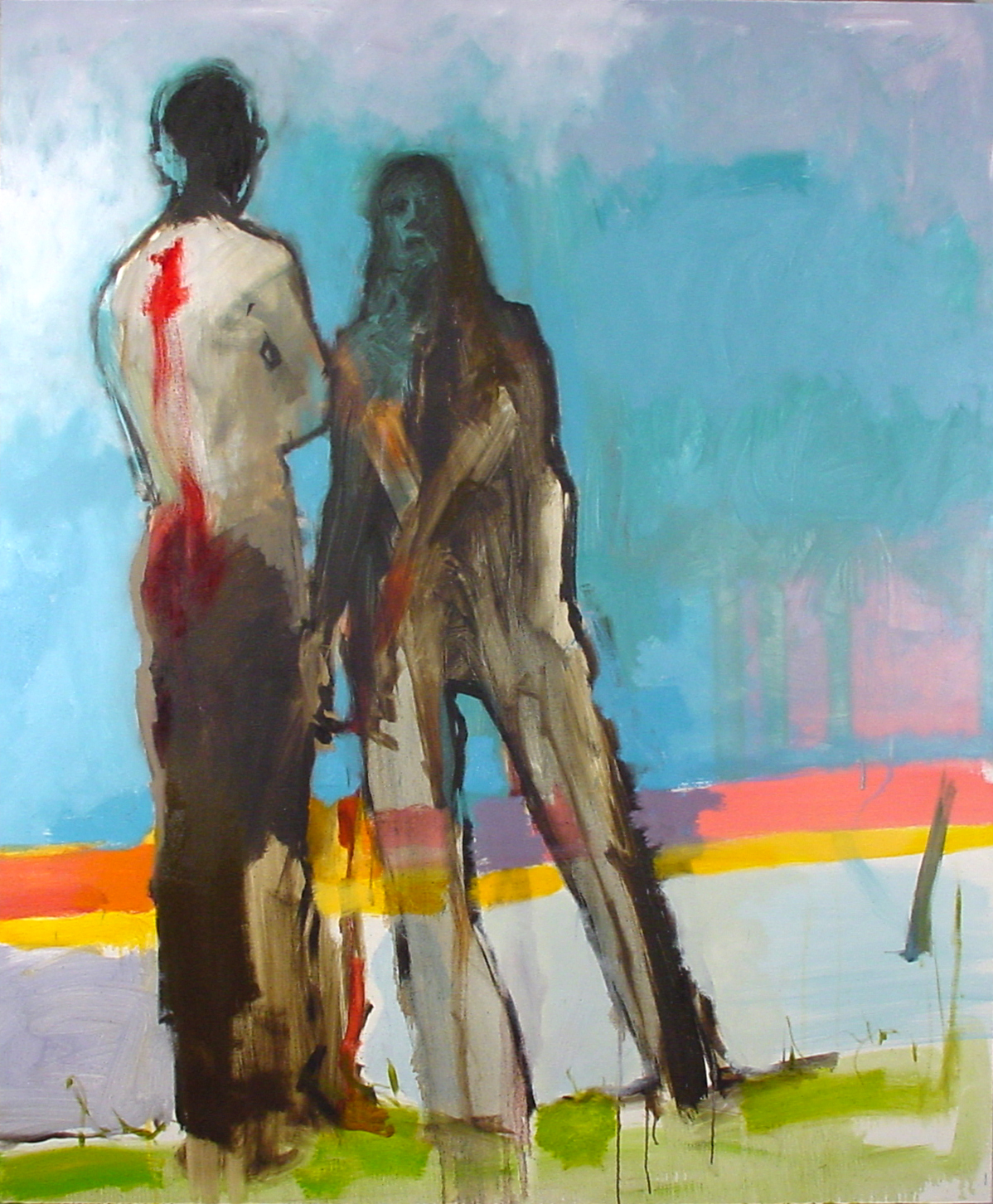 A couple by a lake / 2002 / Private Collection Oil on canvas