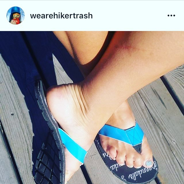 @wearehikertrash rocking a blue pair of Greendals. Check out her feed for her hiking adventures! #madefromtires