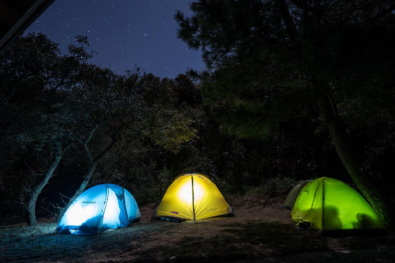 Le nostre tende, da sinistra: Takeshi, io e Sio in quella gialla, Macchapin in quella verde e Aida-san, che già dormiva, nelle retrovie.