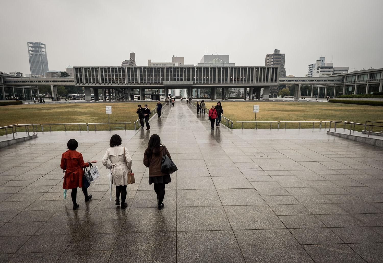 Outside the Atomic Bomb Museum of Hiroshima