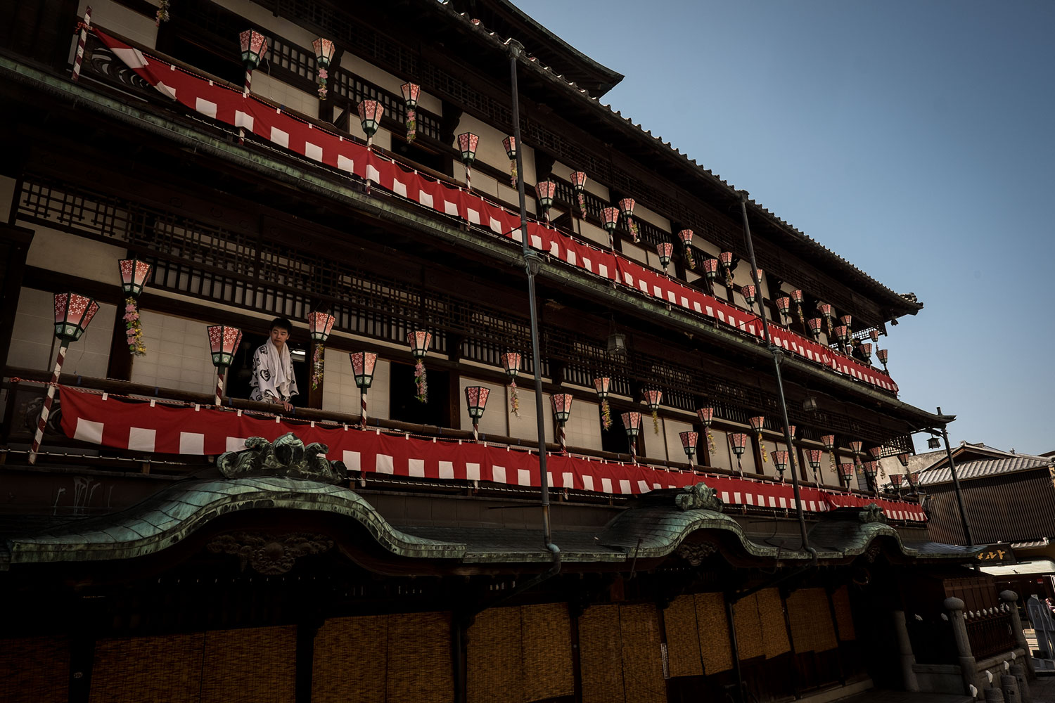 The side view of Dogo Onsen and its beautiful terrace.
