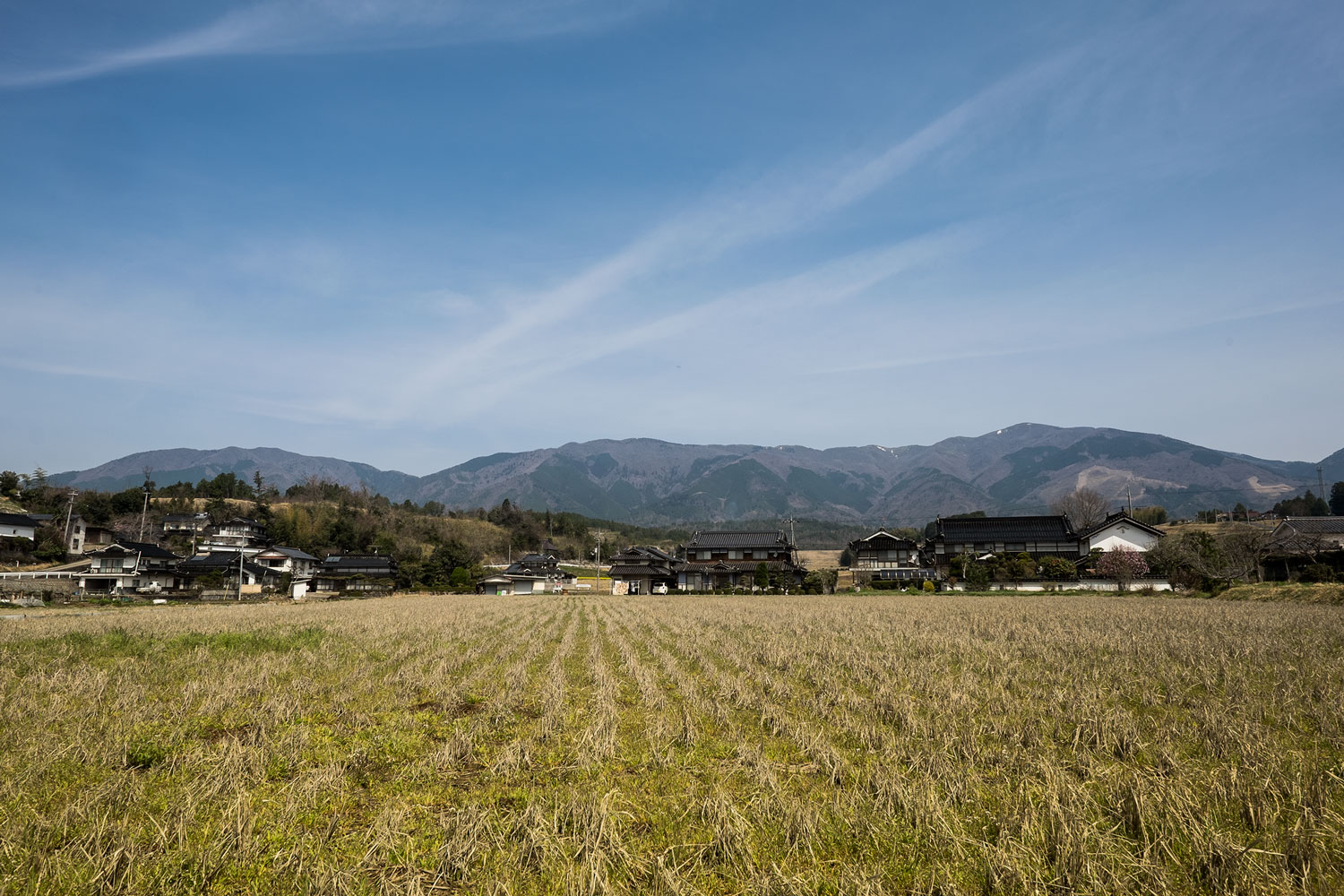 The countryside near Okayama and the mountains in the background
