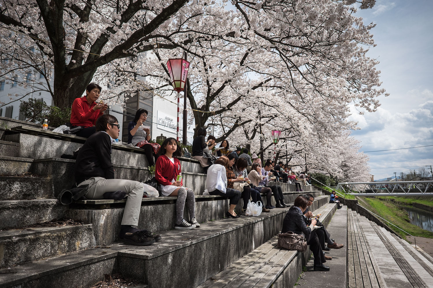 With the sakura blooming, people start enjoying spending their lunch break outside!