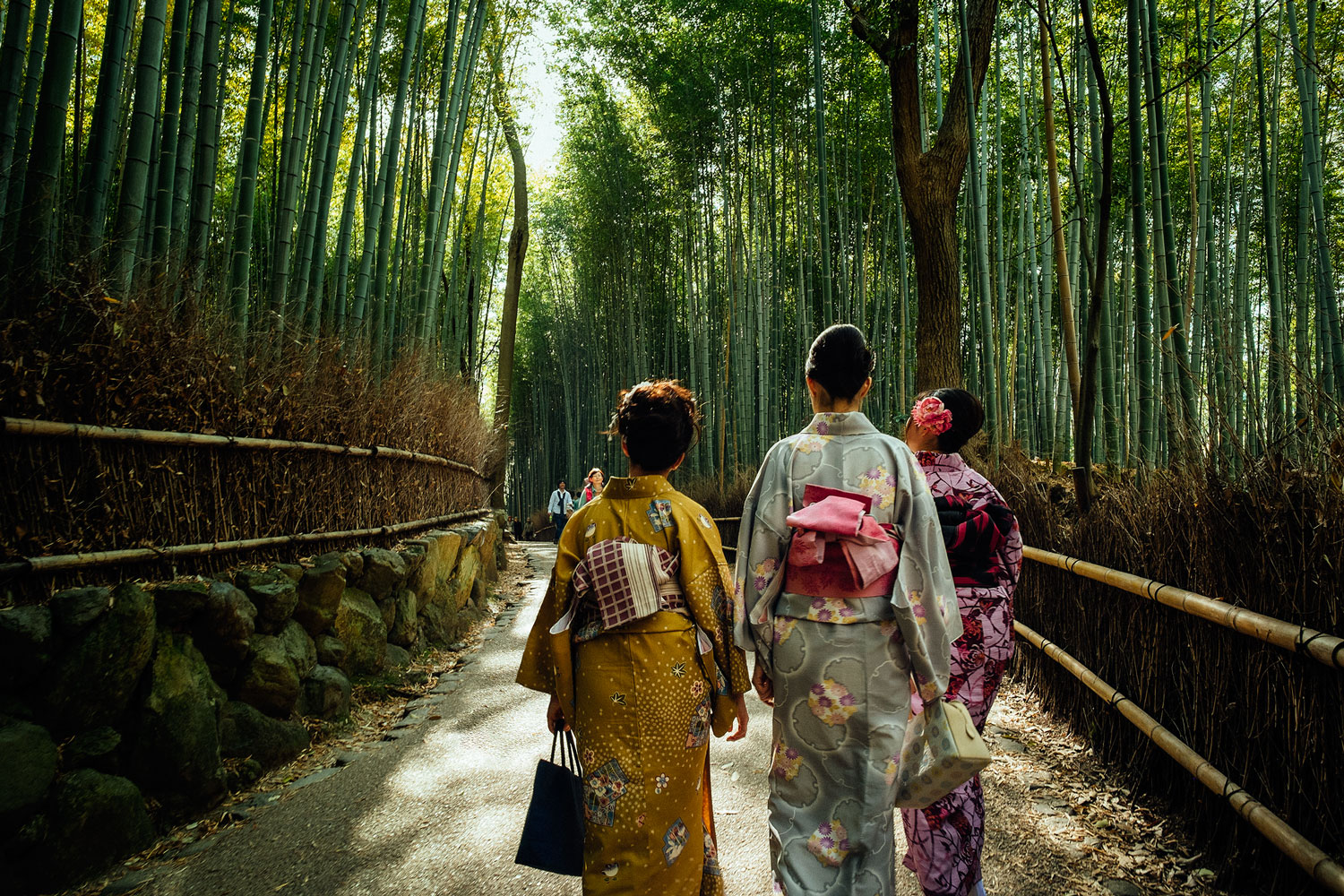 Some girls in kimonos strolling around Arashiyama