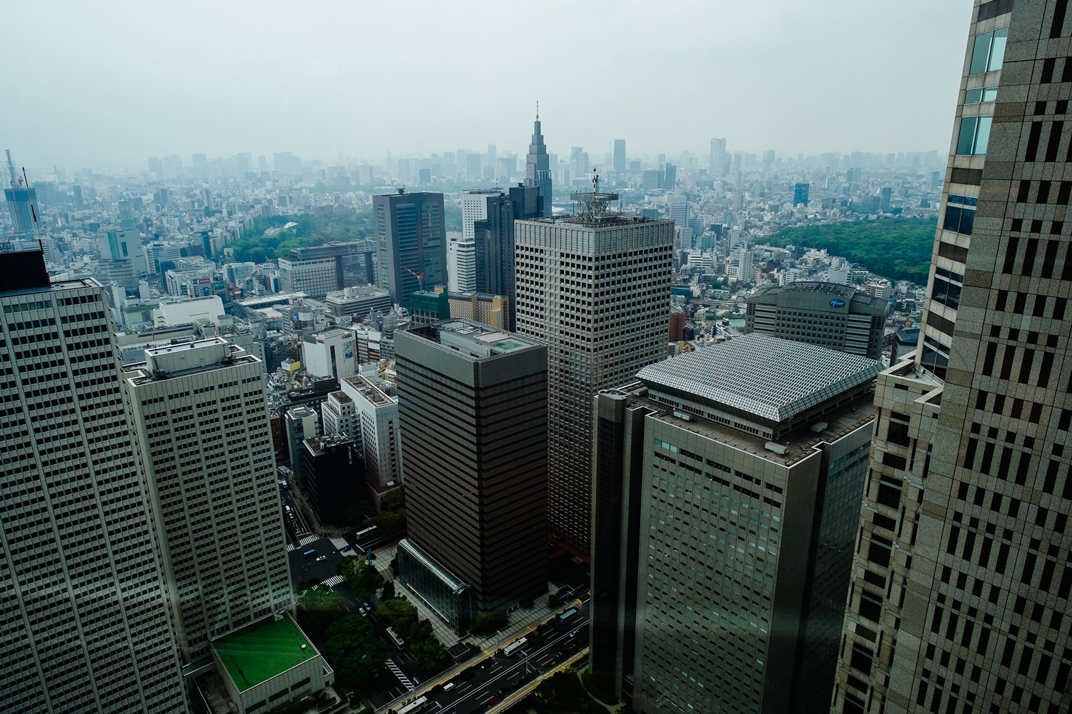 Shinjuku and all its massive skyscrapers, from above.