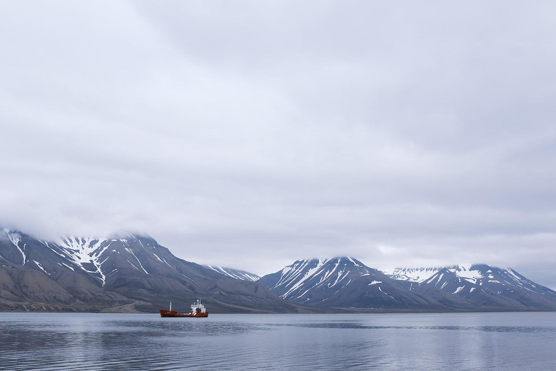 Cargo boats in the Longyearbyen harbour