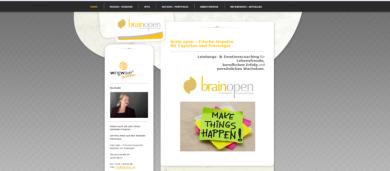 """Wegdesign und Erstellung Homepage für das Coaching-Unternehmen """"brain open""""."""