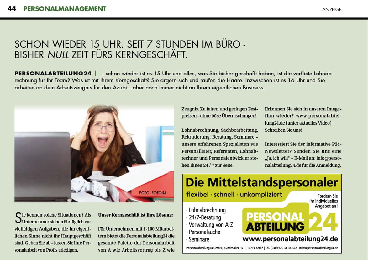 Pressearbeit für Personalabteilung24
