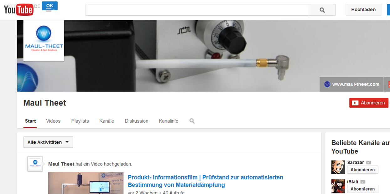 YouTube-Kanal | Erstellung und Pflege für MAUL-THEET GmbH