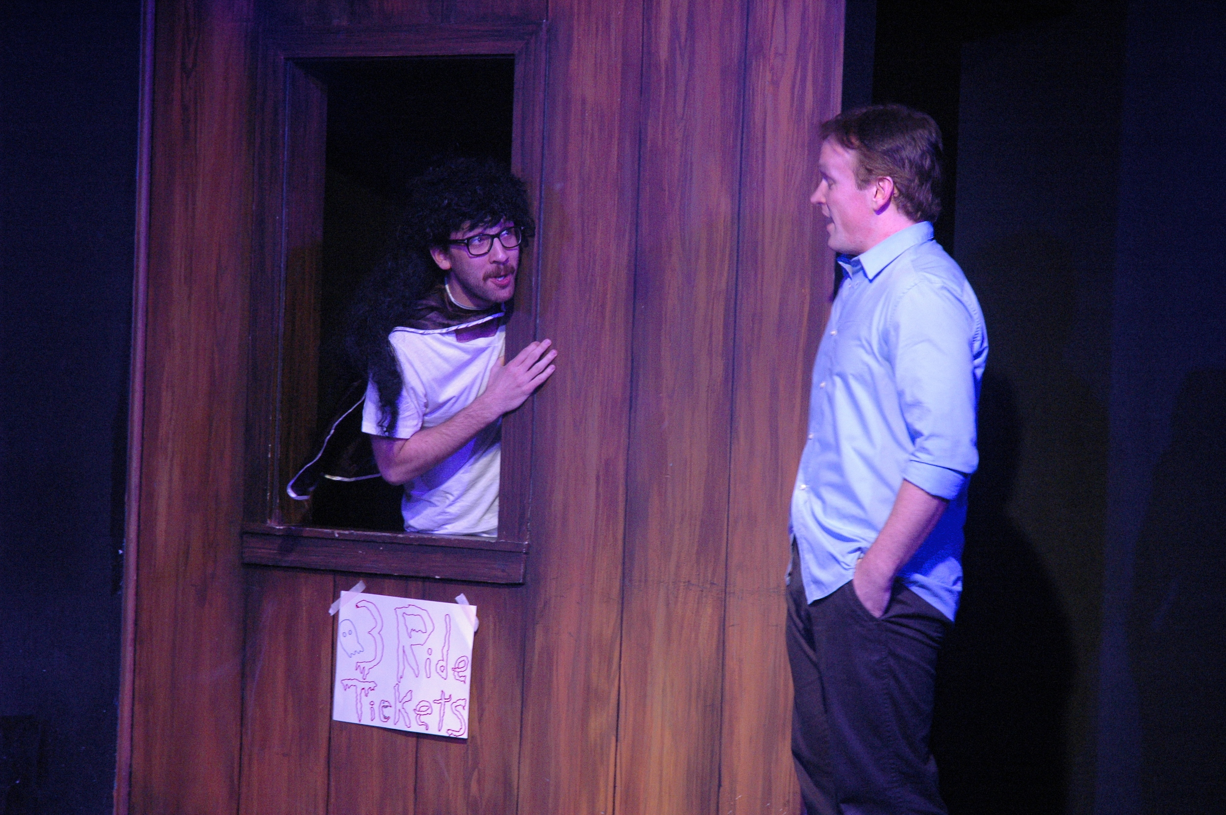 Hell House  by Jonathan Goldberg. Dan Moyer and James B. Kennedy. Magnet Theatre 2013. Photo by Megan Gray.