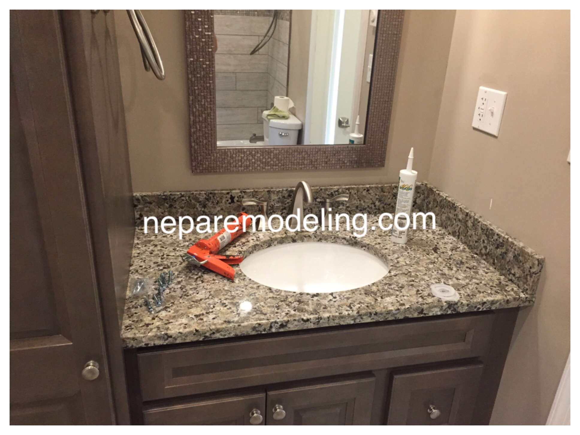 Granite counter with undermount sink.