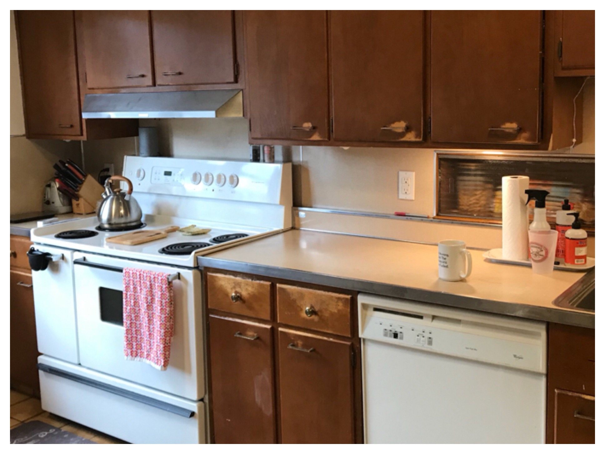 These cabinets show excessive wear and damage. Using low quality, or inappropriate finishes, on kitchen cabinets will result in poor performance and substandard durability.