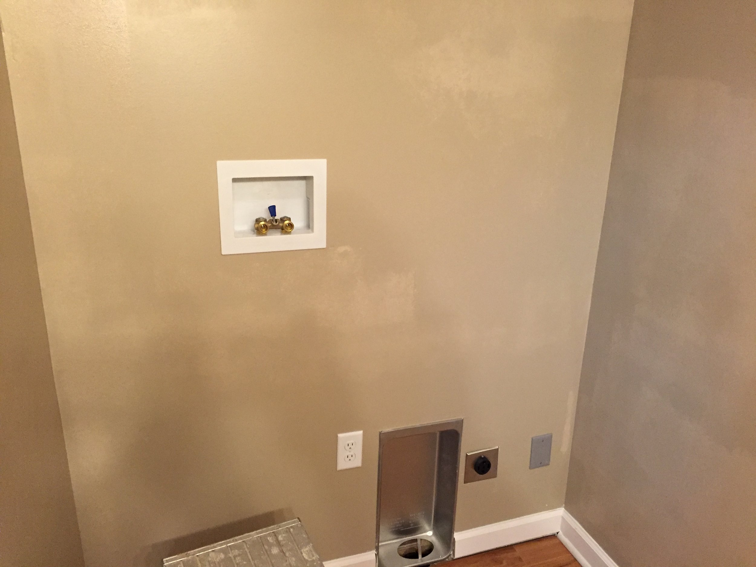 Flashing visible on drywall not properly primed before paint application.