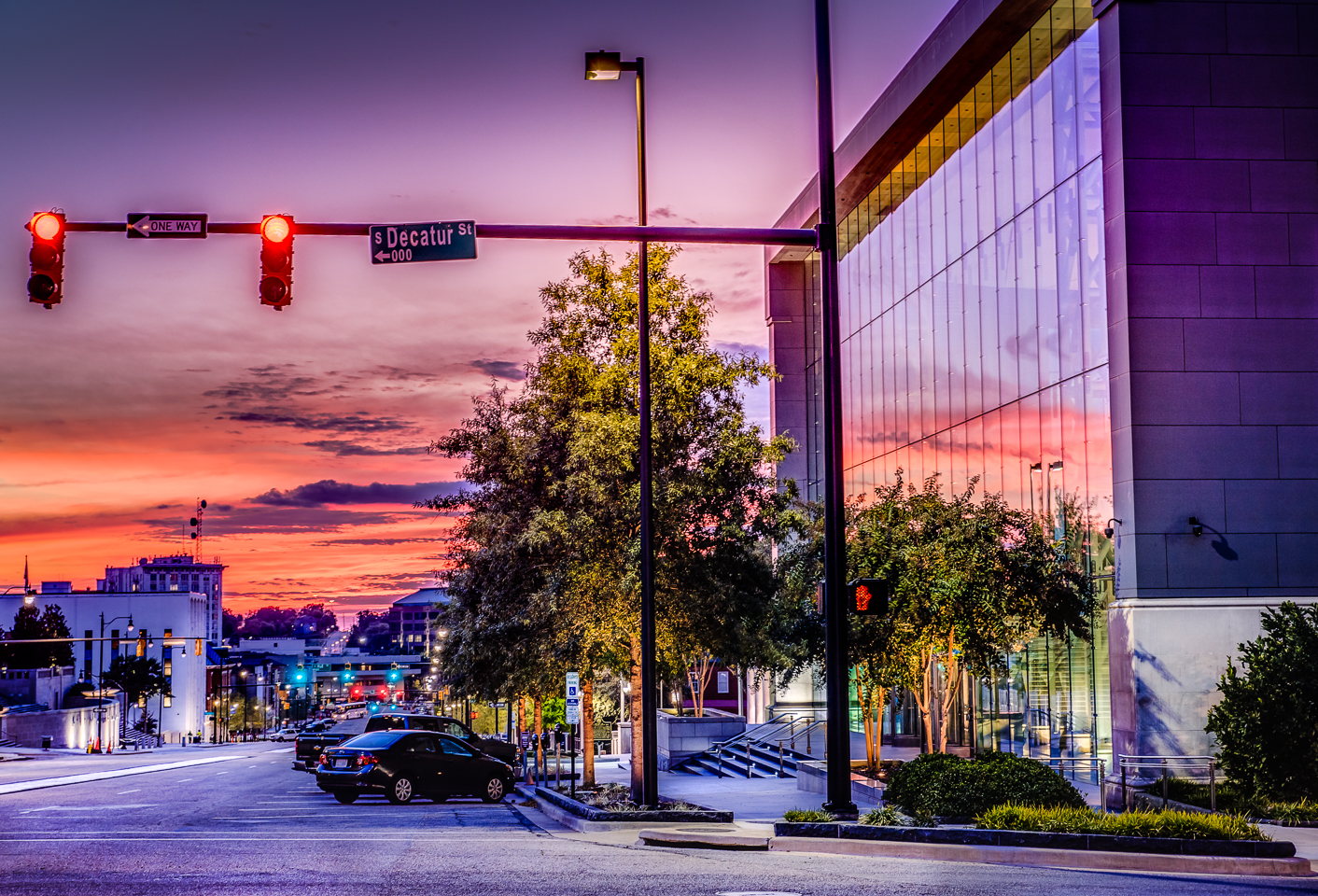 Downtown Montgomery Alabama at dusk