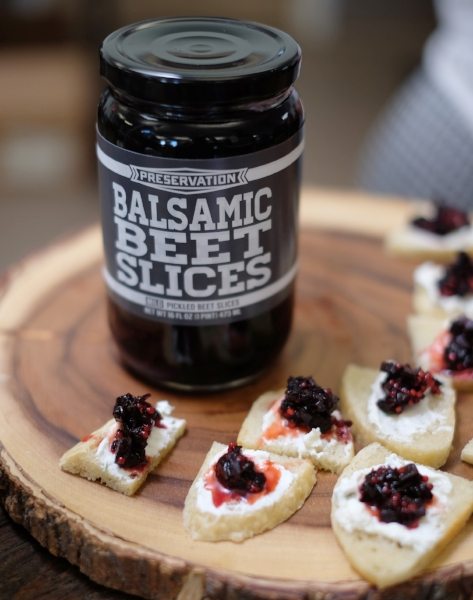 Balsamic Beet Relish Canapes with Jar