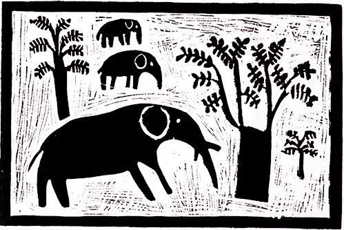 Elephant-with-Babies,-Linocut,-355x440,-Abraham-Hamunyela.jpg