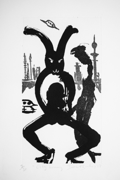 City Bunny,  Ed. of 30, Copperplate etching, 50 x 33 cm