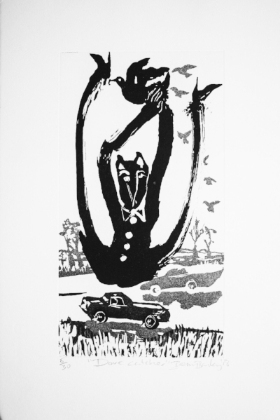 Dove Catcher,  Ed. of 30, Copperplate etching, 50 x 33 cm