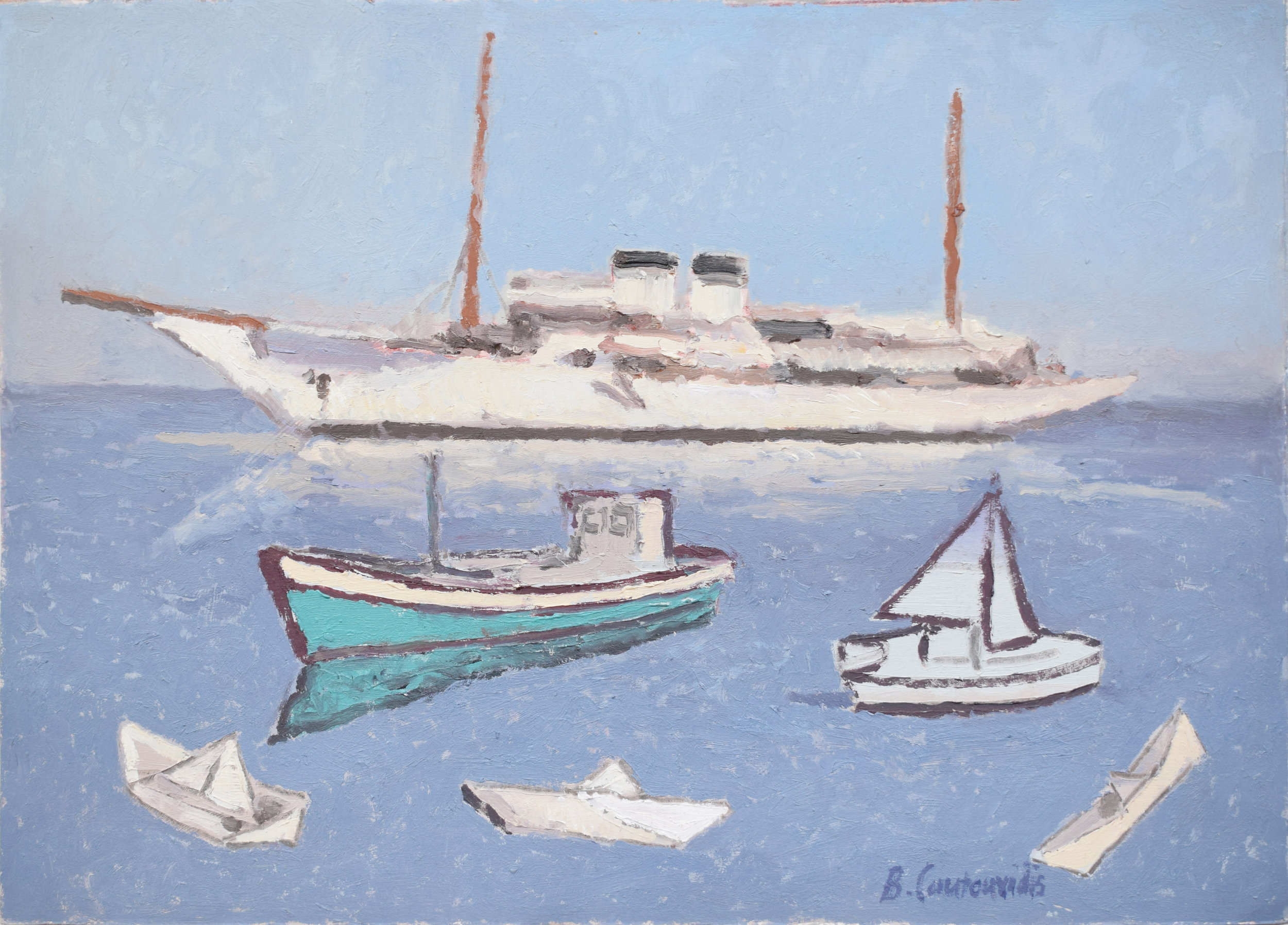 Kalk Bay Selection of Boats - Oil on Paper - 320 x 230