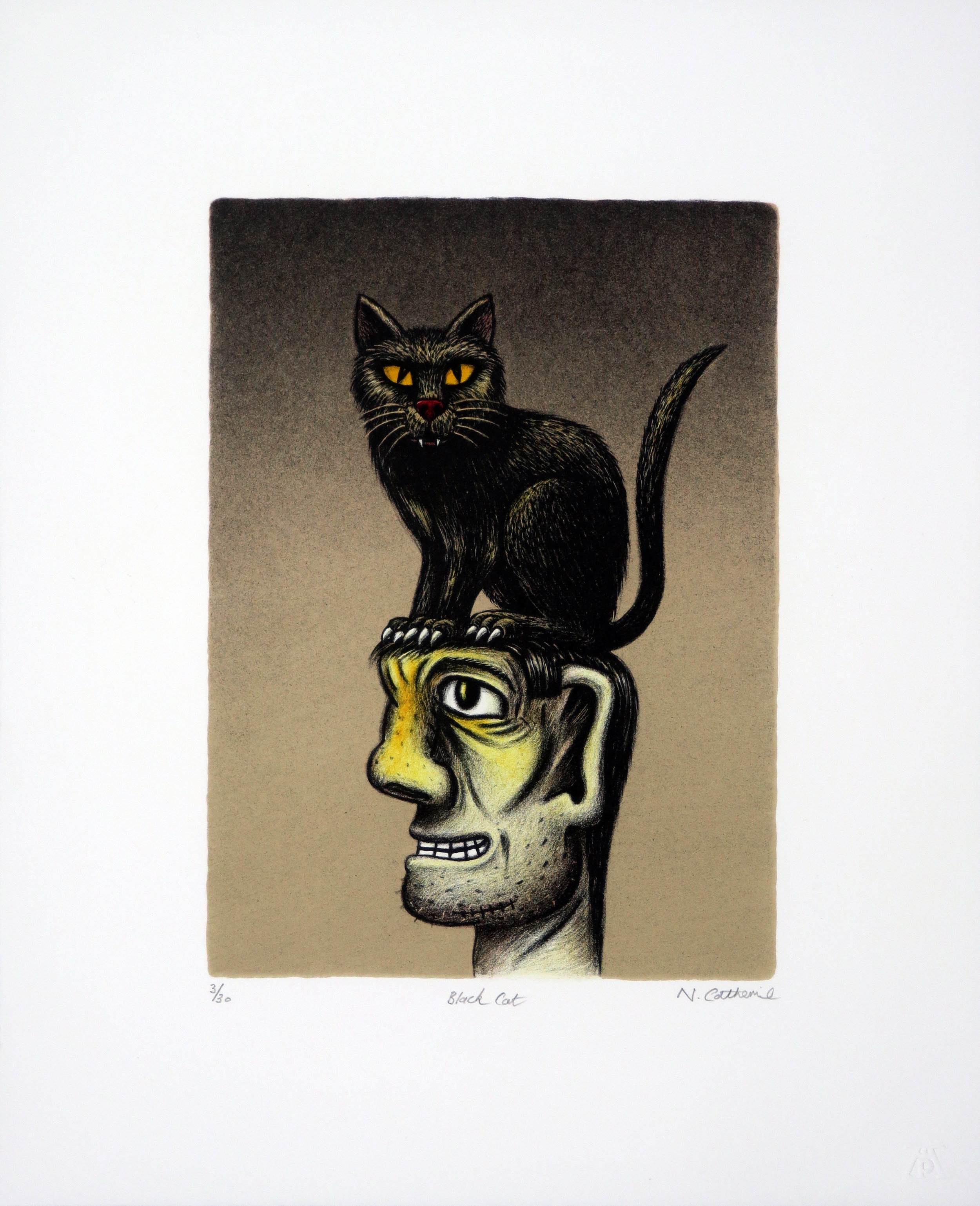 Norman Catherine, Black Cat, Lithograph, 300x375.jpg
