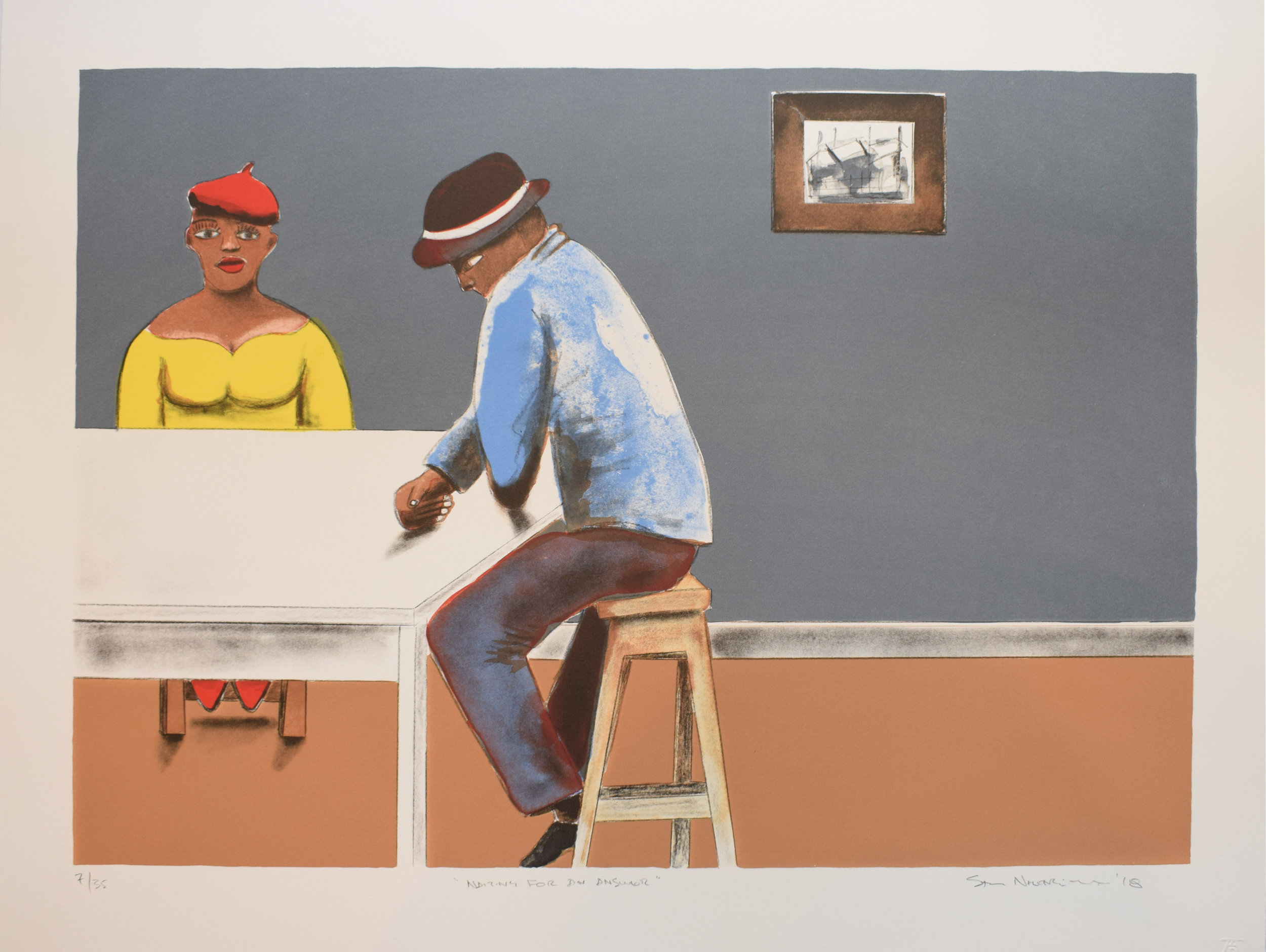 Sam Nhlengethwa - Waiting for an Answer - 7of35 - 500x648 - Lithograph -.JPG