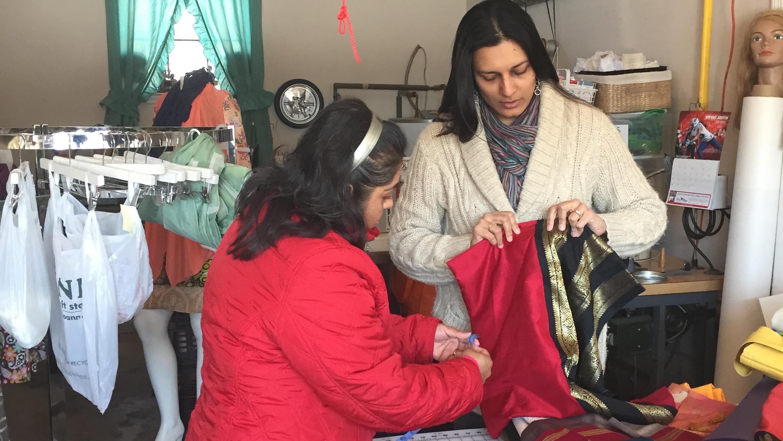 Cutting up Saris with Magdalena