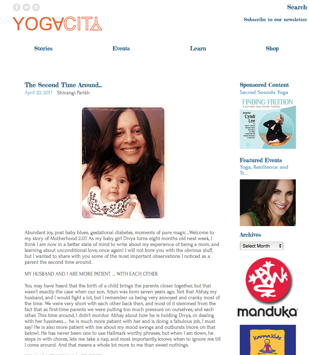 My Blog Post featured on YogaCity NYC