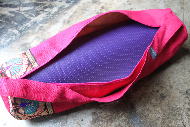 Hot Pink Burlap Yoga Mat Bag Large Shivam Creations