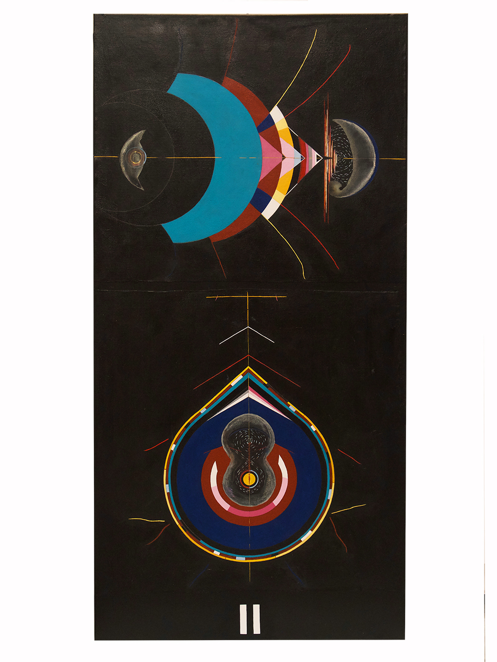 "Process II: Twin Flame (Comet)  oil, acrylic and pencil on canvas 48"" x 24"""
