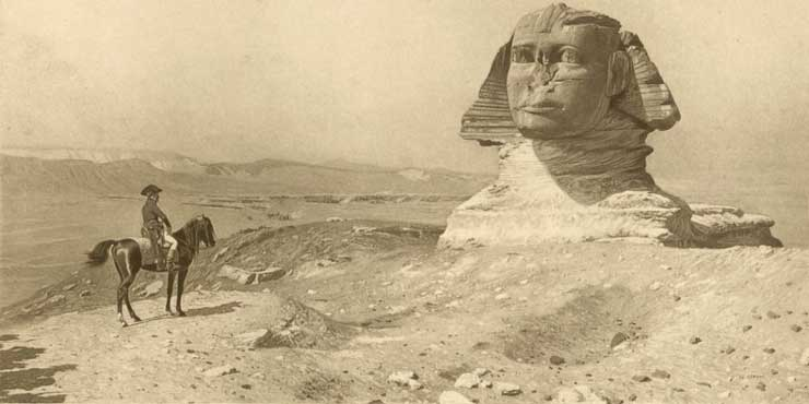 Napoleon viewing noseless Sphinx, by Jean-Leon Gerome, 1867