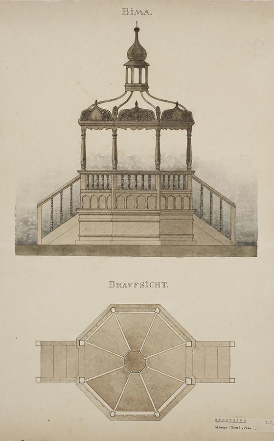 Breier Drawings of the bimah.