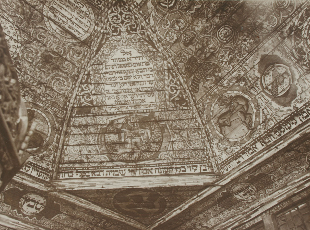 Gwozdziec Synagogue, ceiling painting, NW pendentive, collection and copyright of Tel Aviv Museum of Art