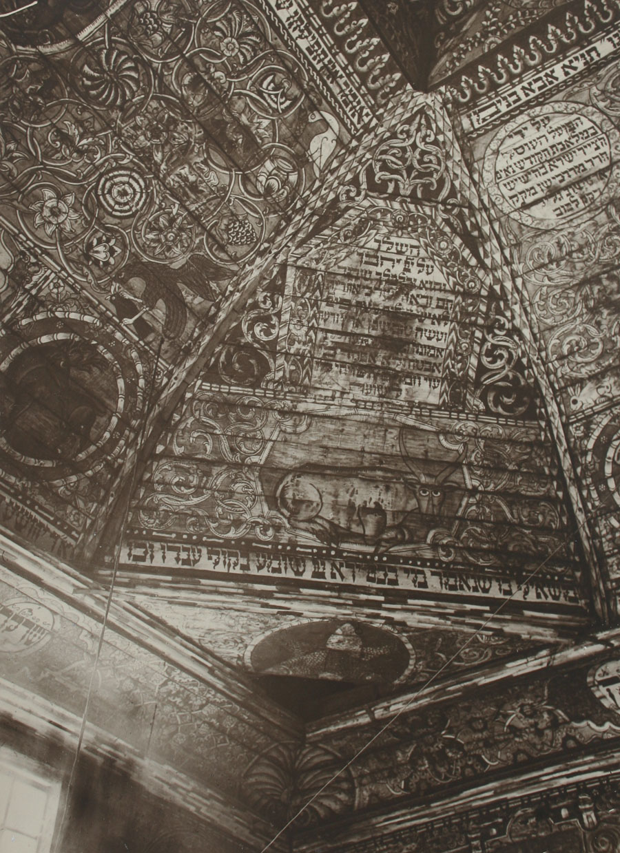 Gwozdziec Synagogue, ceiling painting, SW pendentive, collection and copyright of Tel Aviv Museum of Art