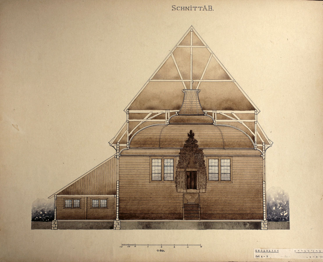 Gwozdziec Synagogue, S-N Section, Alois Breier, collection and copyright of Tel Aviv Museum of Art
