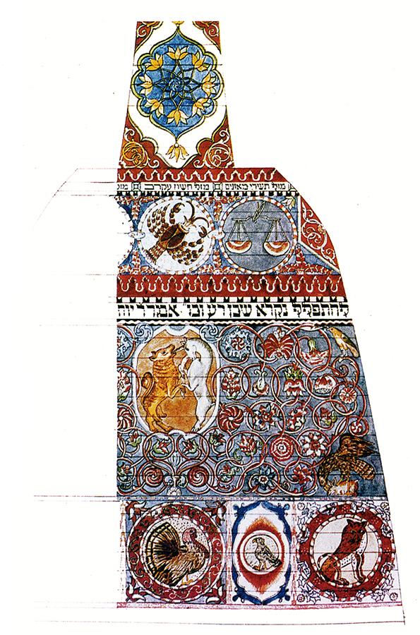 Gwozdziec Synagogue, north ceiling color study, Alois Breier, Courtesy of Tel Aviv Museum of Art